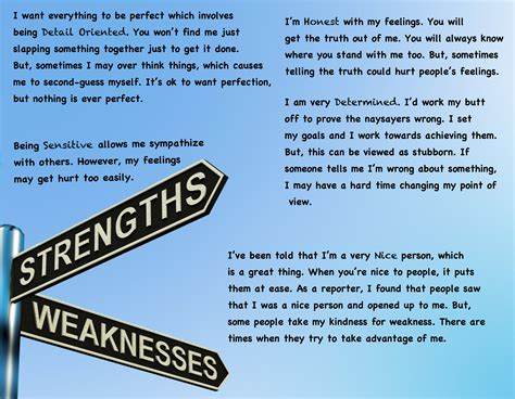 What To Write In Strengths And Weakness In Resume by 5 Of My Strengths Weaknesses Weather Anchor