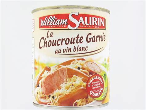 vannes cuisines choucroute garnie au vin blanc william saurin 800 grs conserves proxilivre