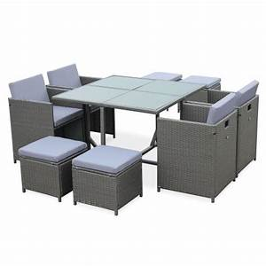 Salon De Jardin Encastrable 8 Places : salon de jardin cubo gris table en r sine tress e 4 8 ~ Melissatoandfro.com Idées de Décoration