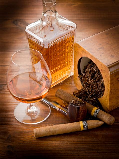 pipe cuban cigar  liquor stock  image