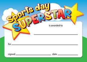 sports day certificate templates free sports day superstar 16 x a6 card certificates