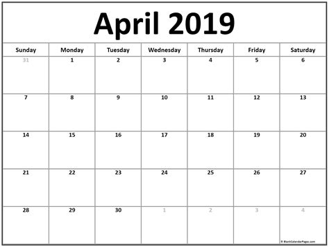 calendar template 2019 april 2019 calendar 51 calendar templates of 2019 calendars