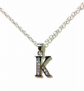 Letter k necklace initial alphabet necklace sterling for Letter k necklace silver