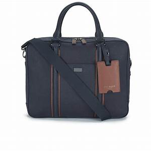 ted baker men39s snowdor canvas and leather document bag navy With mens document bag