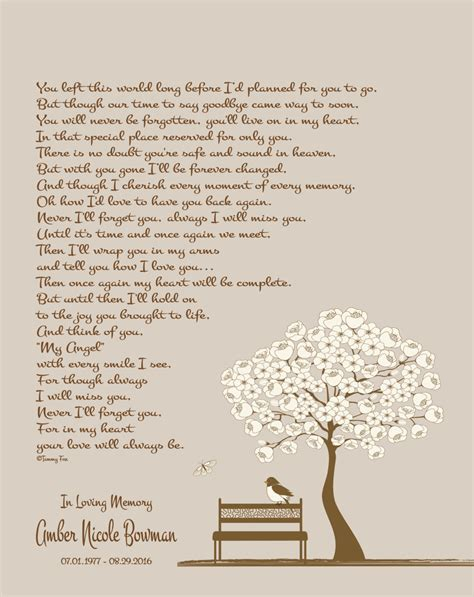 loss  daughter loss  son memorial poem sympathy gift wife