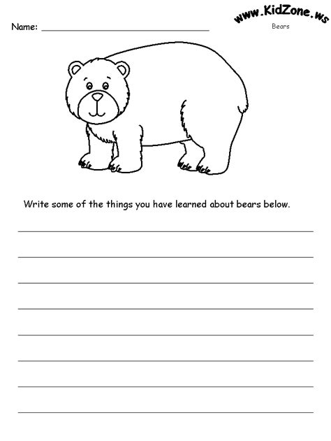 Bear Worksheets  What I Learned About Bears