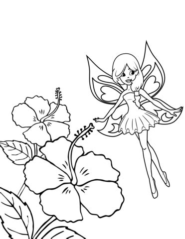 Fairy Flies over Hibiscus coloring page Free Printable