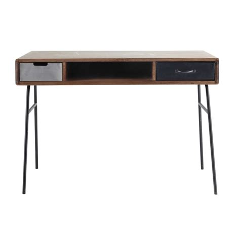 bureau industriel vintage solid mango wood vintage desk w 115cm lenox maisons du monde
