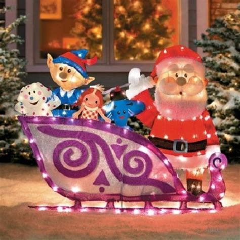 christmas decorations for the land of misfits lighted 42 quot rudolph santa sleigh misfit toys outdoor yard decor