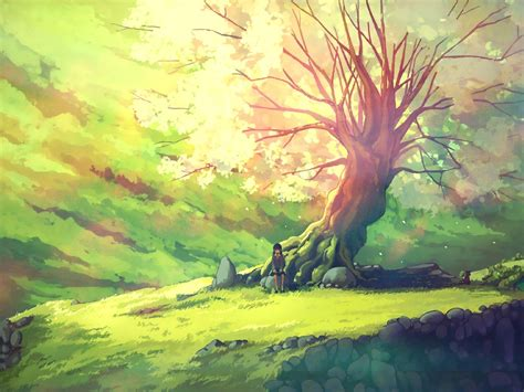 Tree Anime Wallpaper - nature trees scenic anime wallpaper 1600x1200
