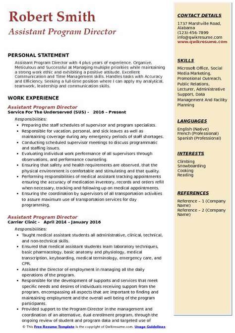 Resume Programs by Assistant Program Director Resume Sles Qwikresume