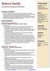 Resume Samples For Supervisor Assistant Program Director Resume Samples Qwikresume
