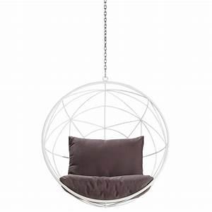 Fauteuil Suspendu Maison Du Monde : fauteuil de jardin suspendu en m tal blanc et coussins ~ Premium-room.com Idées de Décoration