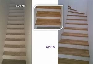 Habillage Escalier Bois : habillage bois marches balanc es et droite sur escalier ~ Dode.kayakingforconservation.com Idées de Décoration