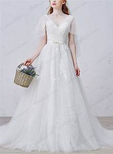 is029 romance sheer tulle flappy sleeves v neckline With flowy wedding dress with sleeves