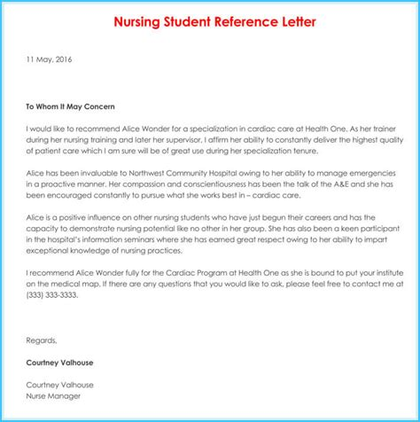 nursing reference recommendation letters  sample letters