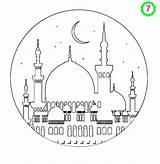 Ramadan Moskee Adabi Mosques Adha Mosquee Muslimkids Moschee Dekorationen Hajj Tintin Camis Islamische sketch template