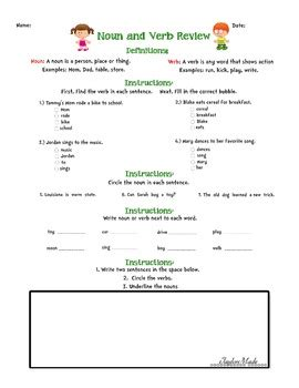 Noun And Verb Review Worksheet By Lauren Taylor Tpt