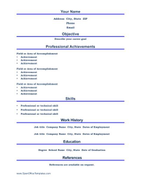 professional resume openoffice template