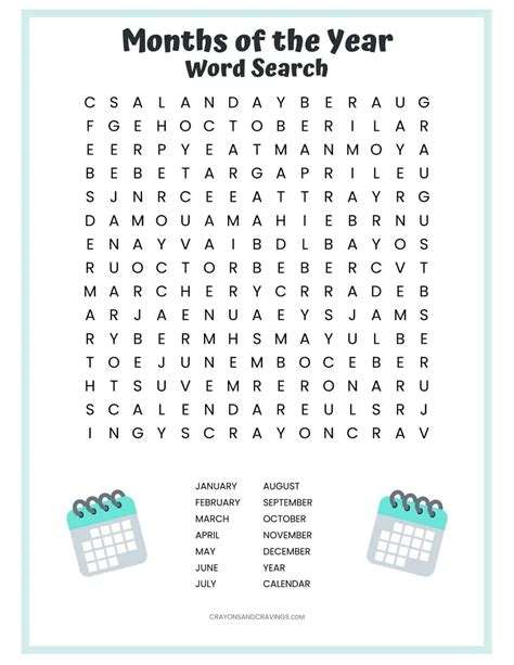 months   year word search  printable  kids