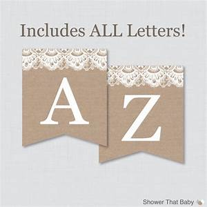 burlap and lace banner with all letters printable instant With burlap banner letters