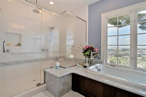 White Spa Bathroom by Blue And White Traditional Spa Bathroom With Glass Shower