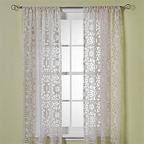 sheer curtains bed bath and beyond b smith jafaro burnout window curtain panels bed bath