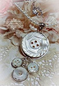 Antique Buttons Mother of Pearl Buttons Pendant Necklace