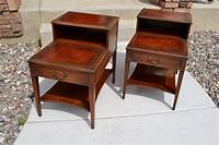 vintage end table Pair of Vintage Mahogany Leather Top Step End Tables by ...