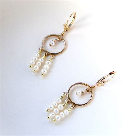 freshwater pearl and gold chandelier earrings by