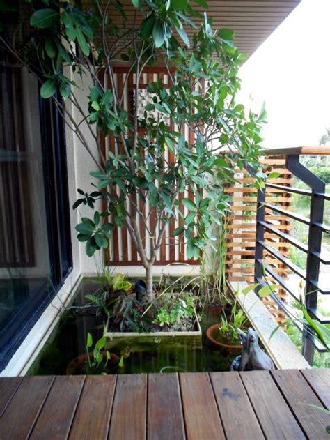 creating  mini pond  small oasis   balcony