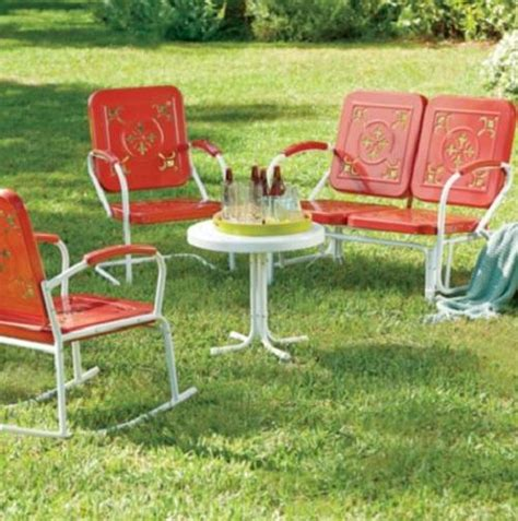 retro vintage style outdoor metal furniture lawn garden