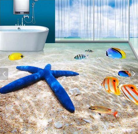 pvc flooring custom waterproof ocean beach sea tropical