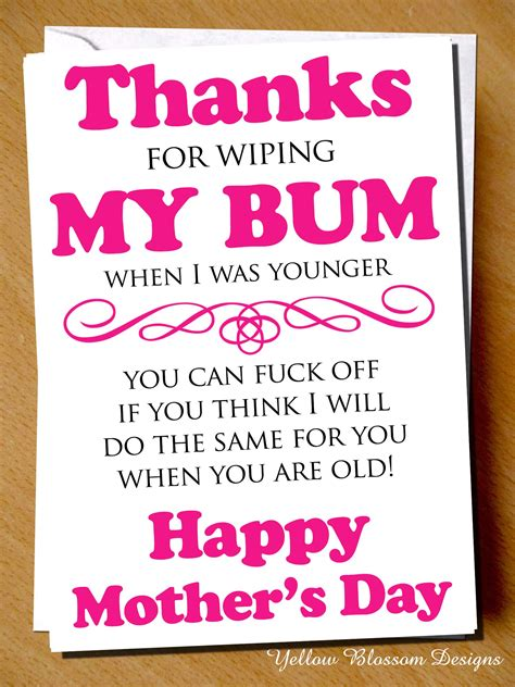 mothers day  card funny cheeky rude mum