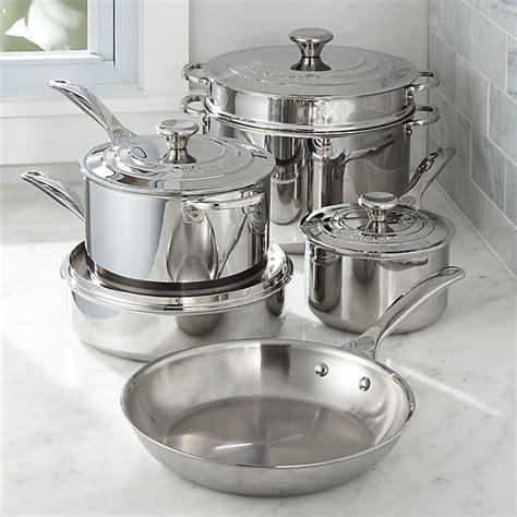 le creuset signature stainless steel  piece cookware set crate  barrel