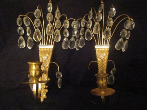 brass and crystal ls vintage antique brass and crystals candle wall sconces 10