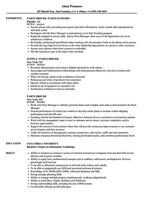 Driver Duties Resume by Parts Driver Resume Sles Velvet