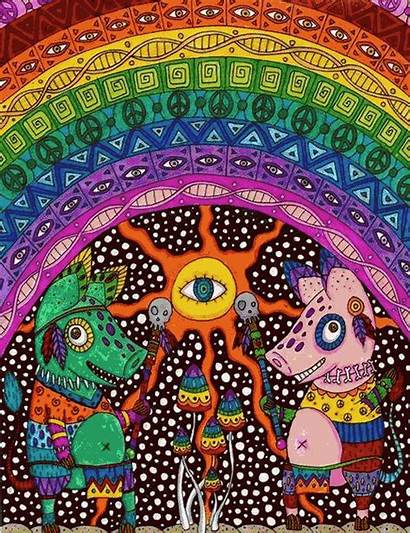 Trippy Psychedelic Mushroom Drawings Acid Smiley Face