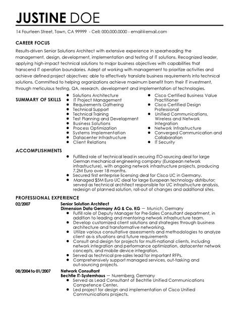 Sap Bw Solution Architect Resume by Words To Put On A Resume To Describe Yourself Carpenter