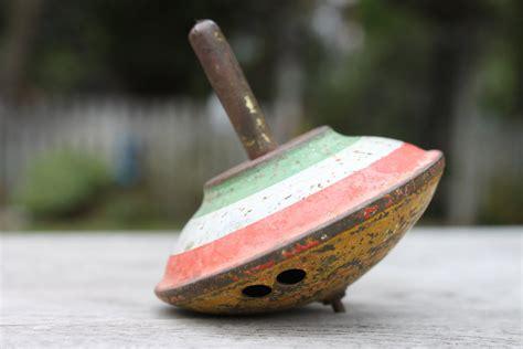 Antique Vintage Lindstrom Spinning Metal Toy Top