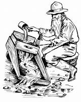 Gold Rush Clip Printable Coloring Pages Western Miner Mining Adults Sheets sketch template