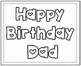 Birthday Coloring Happy Pages Dad Printable Daddy sketch template