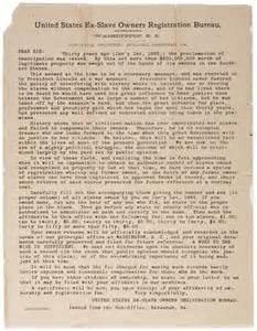 Ex-Slave Owners Registration Bureau: Broadside sent to ...