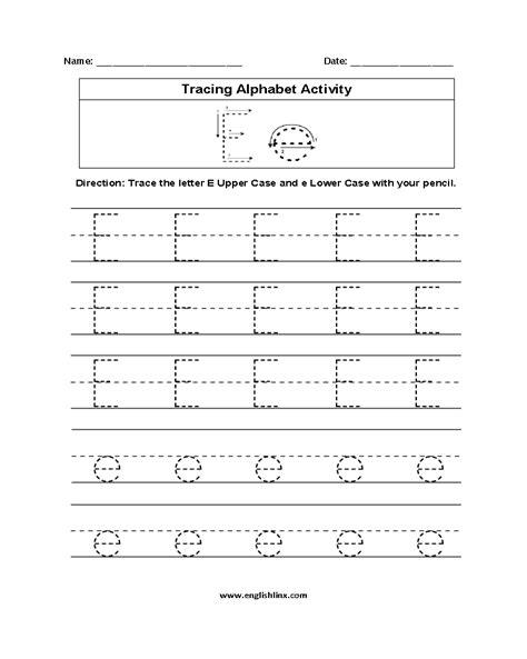 Alphabet Tracing Worksheets Letter E