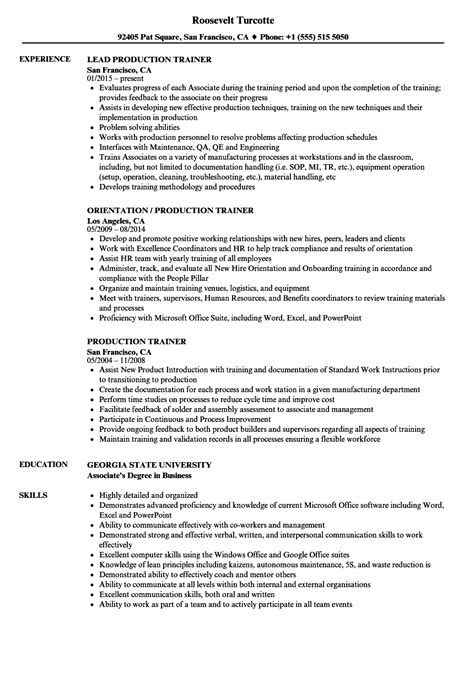 How To Write A Resume For A Exle by Production Trainer Resume Sles Velvet