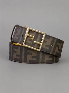 Fendi Logo Print Belt in Brown for Men | Lyst