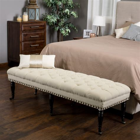 wilshire ivory fabric tufted bedroom entryway bench