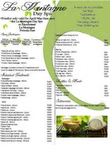 La Montagne Day Spa Winter Pricelist  Pretoria East