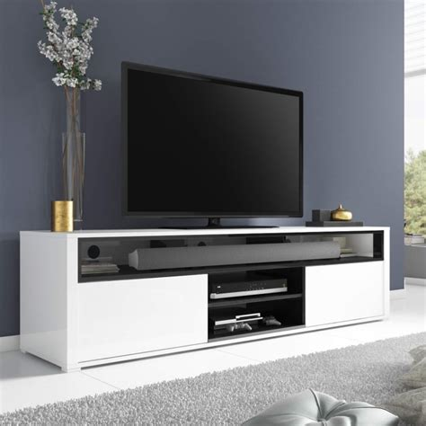 large white high gloss tv unit  soundbar shelf tvs
