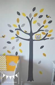 Stickers Arbre Photo : stickers arbre gris jaune blanc hibou chouette oiseaux feuilles d coration chambre b b jaune ~ Teatrodelosmanantiales.com Idées de Décoration